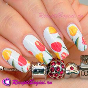 Фото: Праздничный дизайн ногтей на 8 марта с тюльпанами
