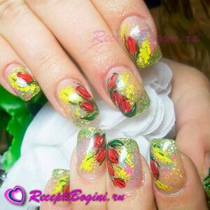 Фото: Праздничный дизайн ногтей на 8 марта с красными тюльпанами и мимозой