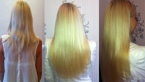 Наращивания волос фото До и После