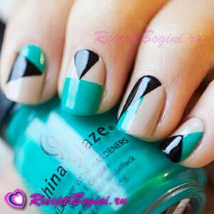 Фото: Модный разноцветный дизайн ногтей - двуцветный маникюр