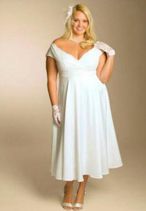 Фото: Свадебное платье для полных девушек с красивой грудью